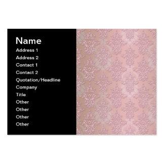 Powder Puff Pink Girly Damask Large Business Card