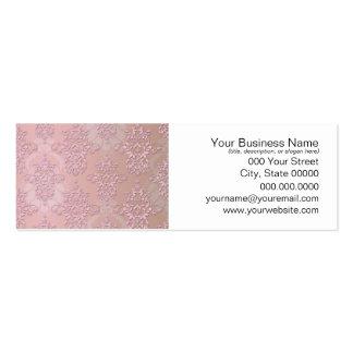 Powder Puff Pink Girly Damask Mini Business Card