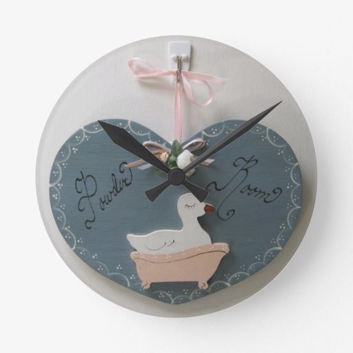 Powder room round clock