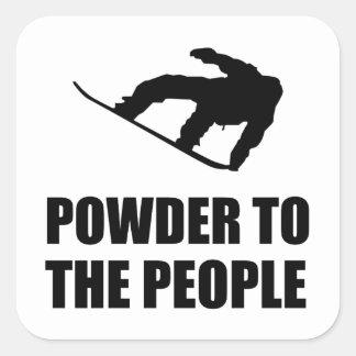 Powder Snow To The People Ski Square Sticker