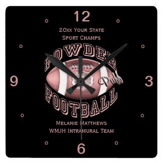 Powderpuff Football Name and School Square Clock