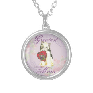 Powderpuff Heart Mom Silver Plated Necklace