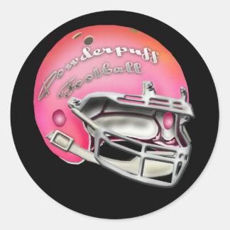 Powderpuff Pink Football Helmet Round Stickers