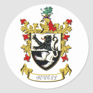 Powell Family Coat of Arms Classic Round Sticker