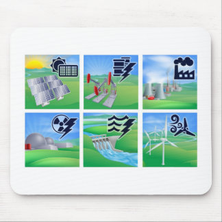 Power and Energy Icons Mouse Pad