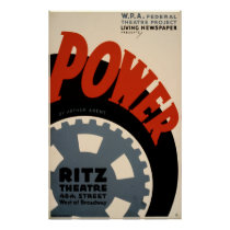 Power Art Deco 1930s WPA Vintage Poster