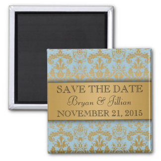 Power Blue & Gold Regal Damask Save the Date 2 Inch Square Magnet