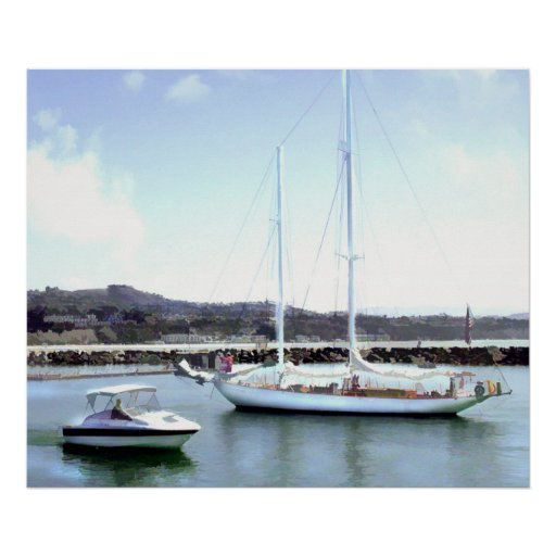 Power Boat and Sail Boat Pass in Harbor Poster