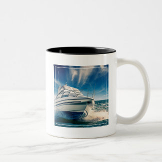 Power Boat Coming Into Chichester Harbour Two-Tone Coffee Mug