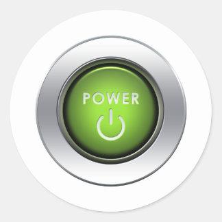 Power Button Classic Round Sticker