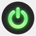 Power Button (Green) Round Sticker