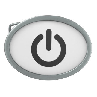 Power Button Symbol Oval Belt Buckle