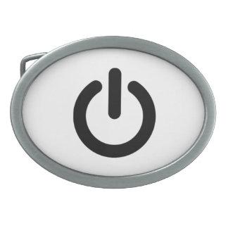 Power Button Symbol Oval Belt Buckle