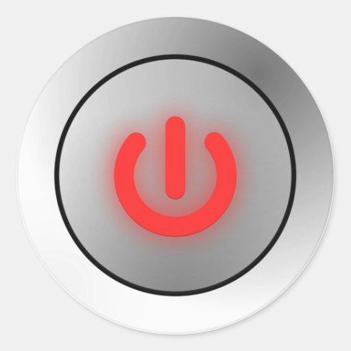 Power Button - White - Off Round Sticker