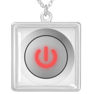 Power Button - White - Off Square Pendant Necklace