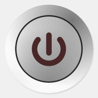 Power Button - White - On Classic Round Sticker