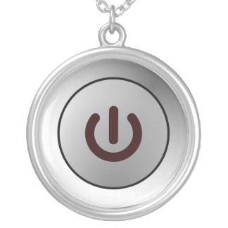 Power Button - White - On Round Pendant Necklace