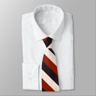 Power Casual Red Black White Stripe Neck Tie