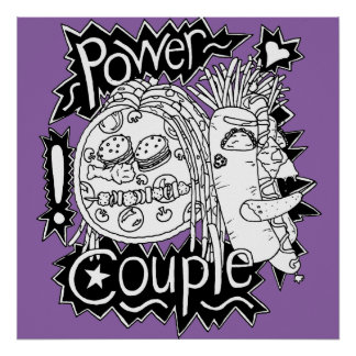 Power Couple Black And White Poster