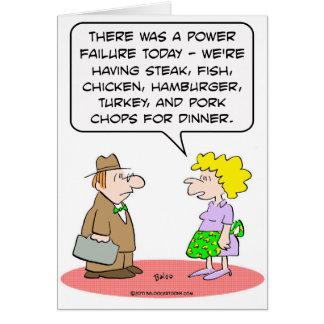 power failure dinner wife husband card