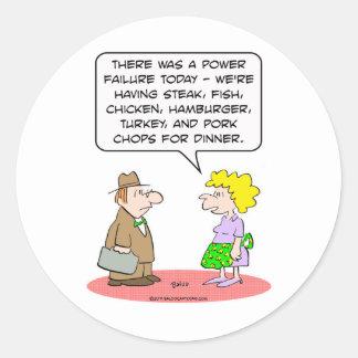 power failure dinner wife husband classic round sticker