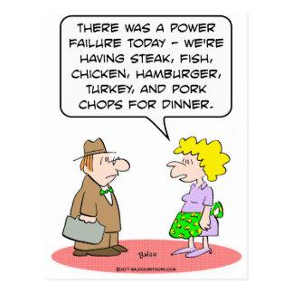 power failure dinner wife husband postcard