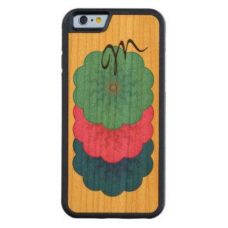 Power Flower Triple monogram blue pink teal Carved® Cherry iPhone 6 Bumper Case