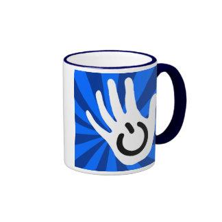 Power Hand Over Blue Rays. Ringer Mug