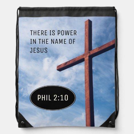POWER IN NAME OF JESUS | Phil 2:10 | Christian Drawstring Bag
