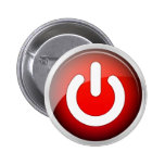Power IO Switch Red Icon Pinback Buttons