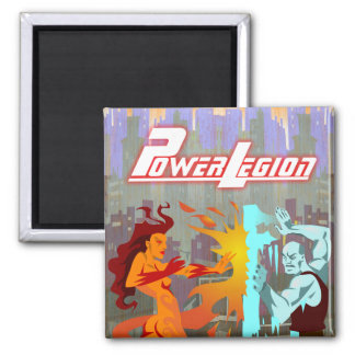 Power Legion magnet: Fire and Ice 2 Inch Square Magnet