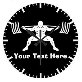 """POWER LIFTING"" Power Squat Logo - Customizable Large Clock"