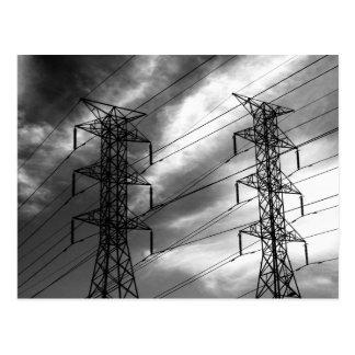 Power line dbl bw postcard