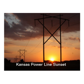 Power Line Sunset Postcard