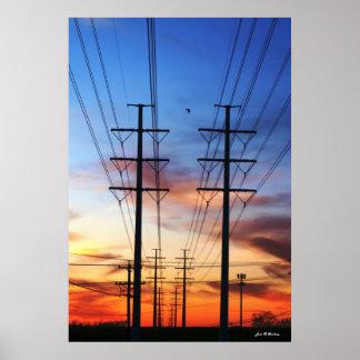 Power Line Sunset Poster Print