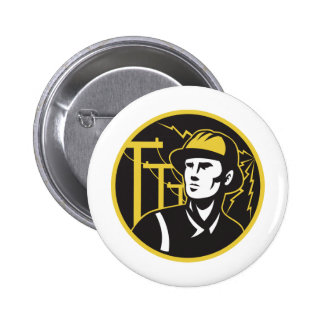 Power Lineman Electrician Electric Worker Button