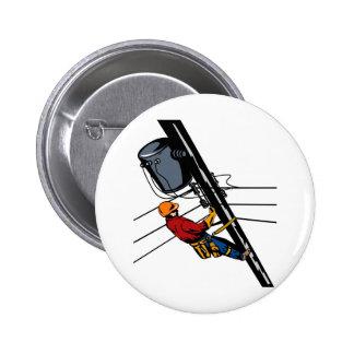Power Lineman Electrician Electric Worker Pinback Button