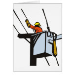 Power Lineman Electrician Electric Worker Greeting Cards