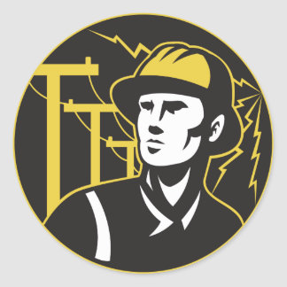 Power Lineman Electrician Electric Worker Classic Round Sticker