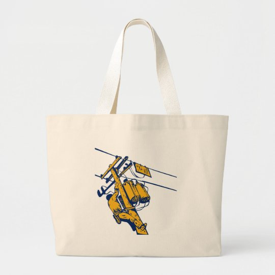 Power Lineman Electrician Electric Worker Large Tote Bag