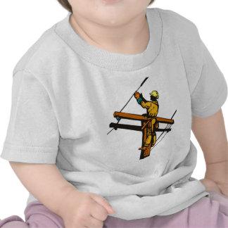 Power Lineman Electrician Electric Worker T Shirt