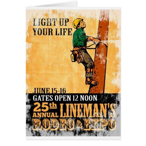 power lineman electrician repairman climbing elect greeting card