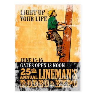 power lineman electrician repairman climbing elect postcard
