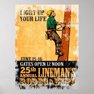 power lineman electrician repairman vintage poster