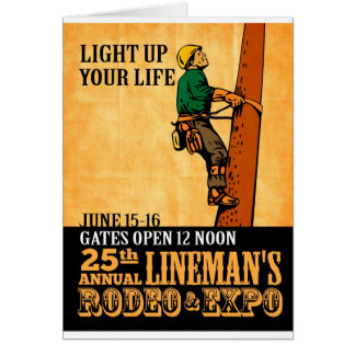 power lineman electrician repairman vintage poster cards