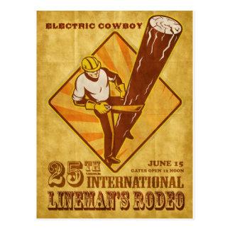 power lineman electrician repairman vintage poster postcard
