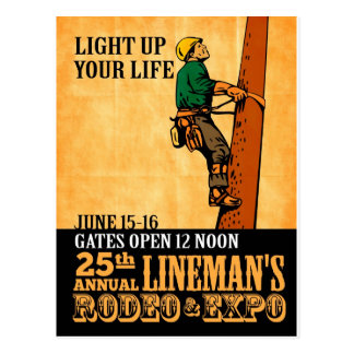 power lineman electrician repairman vintage poster post cards