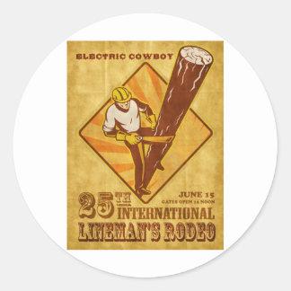 power lineman electrician repairman vintage poster stickers