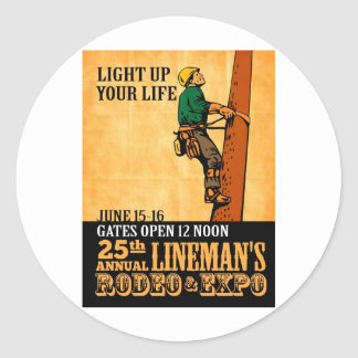 power lineman electrician repairman vintage poster round sticker