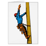Power Lineman Electrician Worker Greeting Card